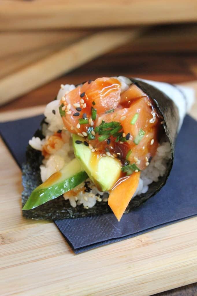 De Foodhallen Amsterdam Meneer Temaki Sushi rol fried shrimp