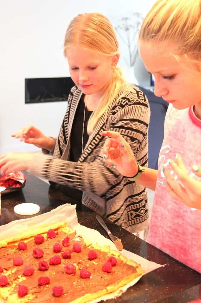 cakerol nutella en framboos bakken