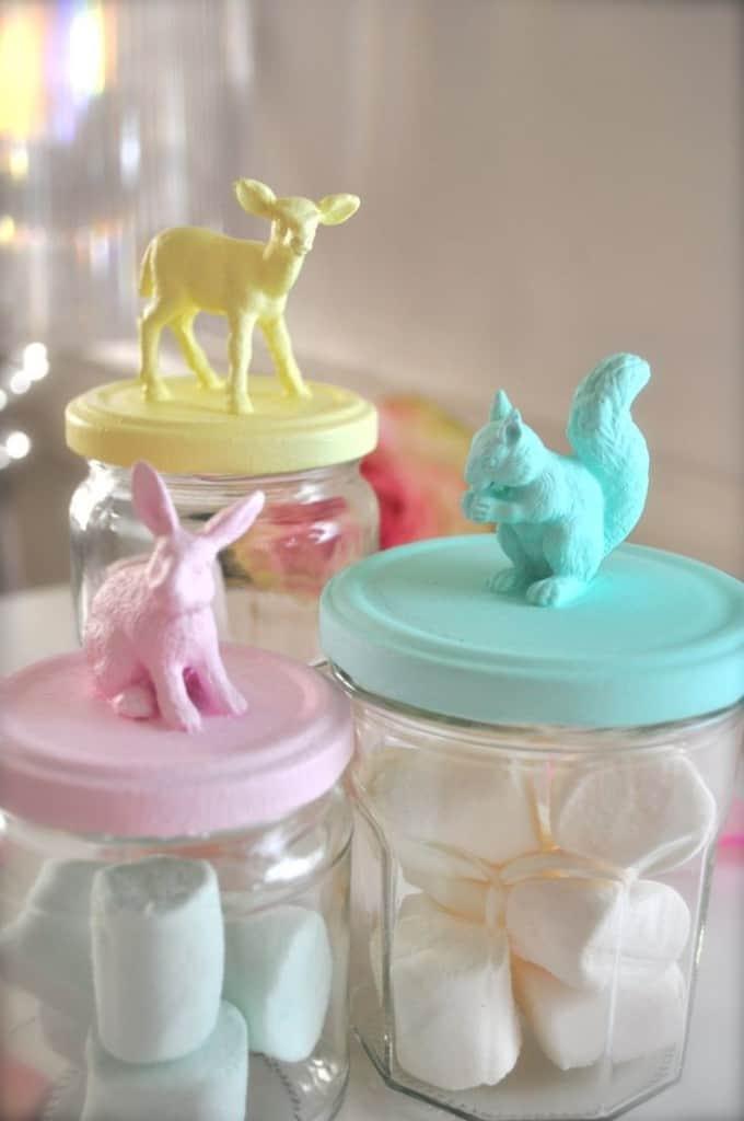 diy glazen potjes met diertjes