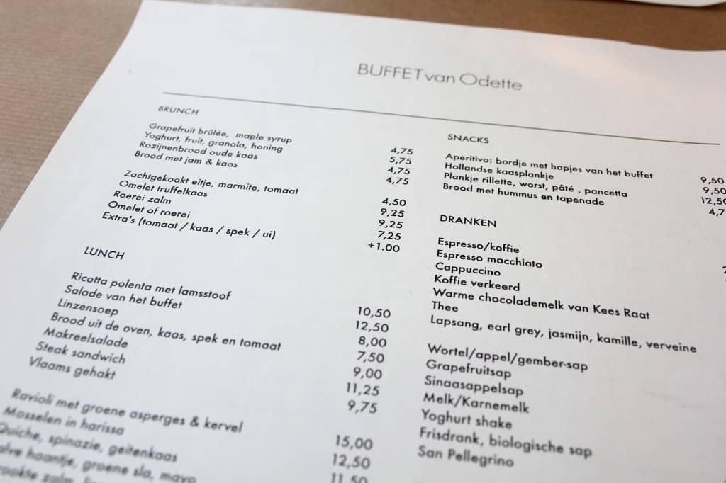 Buffet van Odette menukaart