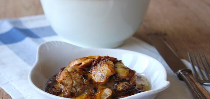 Citroenkip met kaas en champignons