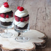 Framboos kladdkaka cheesecake trifle